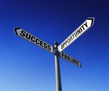 road signs to success, opportunity and failure